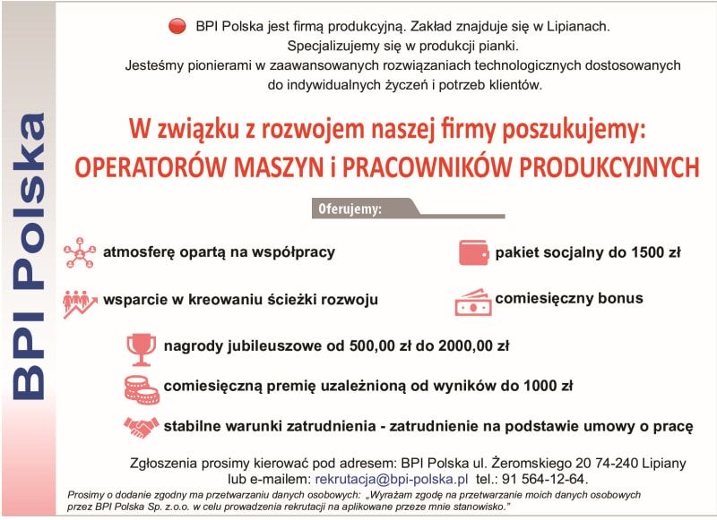 Read more about the article OFERTA PRACY W BPI LIPIANY